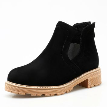 Ankle Chelsea Boots Square Low Heels Shoes 7332