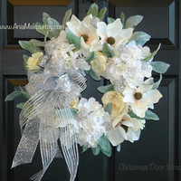Christmas wreath Christmas wreaths white silver Holidays wreath front door decor outdoor wreaths