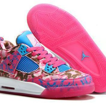 Hot Nike Air Jordans 4 Retro Women Shoes Limited Edition Pink Rose