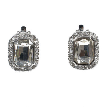 Vintage Style Crystal Rhinestone Square Clip On Earrings