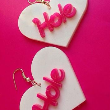 Hole Courtney Love Earrings Nineties Grunge Vintage Style Nirvana Heart