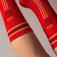 Moscow Olympics Socks / Collectible Mod Pair of Red Unisex Tall Socks: 1980 Olympic Games Memorabilia / Rare Athletic Yellow Stripe Socks