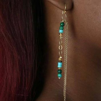 Turquoise Draped Earrings
