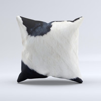Real Cowhide Texture Ink-Fuzed Decorative Throw Pillow