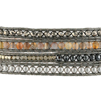"Chan Luu 32"" Mix Sectioned Wrap Bracelet on Grey Leather Grey Mix/Grey - Zappos.com Free Shipping BOTH Ways"