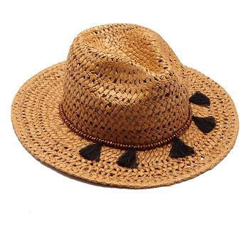 Straw Cane Rancher Hat With Tassels - Toast