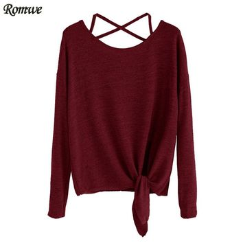 Women T shirt Spring Burgundy Scoop Neck Drop Shoulder Long Sleeve Crisscross Tie Front T-Shirt