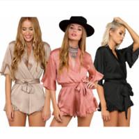 Fashion V-Neck Solid Color Frills Middle Sleeve Romper Jumpsuit Shorts