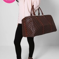 Tiote Brown Check Holdall Bag | Pink Boutique