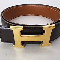 Auth HERMES Black Gold Leather & Metallic Material Circle Y Belts