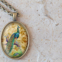 Peacock Necklace, Bird Pendant, Oval Necklace (1450B)