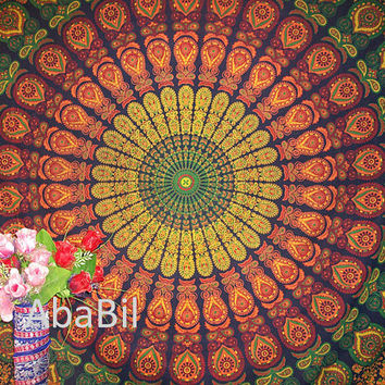 Blue Large Indian Mandala Bedspread Tapestry Bohemian Hippie Wall Hanging Home Décor Art