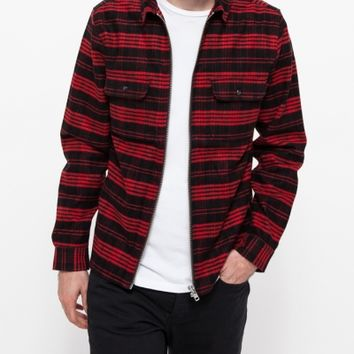 Topman Red Check Zip Overshirt