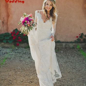 Lace Elegant V Neck Open Back White Long Sleeve Wedding Dress Custom Made Mermaid 2018 Boho Hippie Summer Beach Wedding Dresses