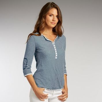 Organic Cotton Stripe Half-Button Henley