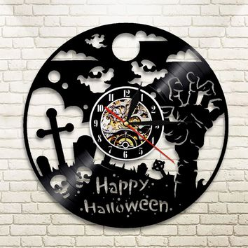1Piece Happy Halloween Wall Clock Vinyl Record LP Clock Halloween Party Zombie Hand Ghost Skull Wall Art Decor