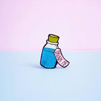 Glitter Drink Me Bottle Enamel Pin