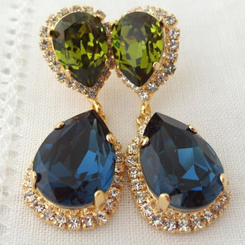 Navy blue and olive green Chandelier earrings, Drop earrings, Dangle earrings, Bridal earrings, Swarovski earrings, Gold or silver