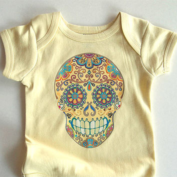 Trendy Baby Clothes Pale Yellow Hippie Sugar Skull Day of the Dead bodysuit. 6 months baby shower gift. Tattoo Punk Unisex baby clothes