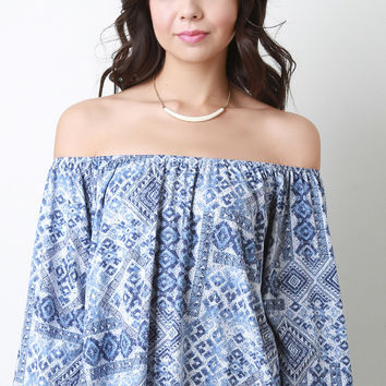 Tribal Off-The-Shoulder Bell Sleeve Blouse Top