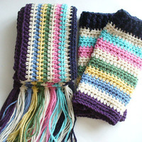 Multi - Colored Crocheted Leg Warmers and Scarf Set