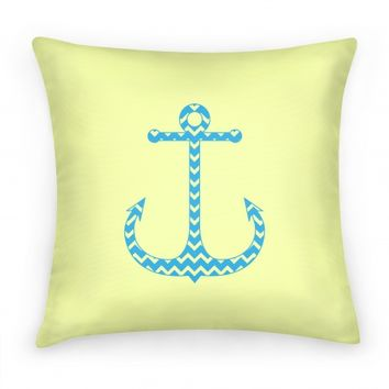 Chevron Anchor Pillow (Blue and Yellow)