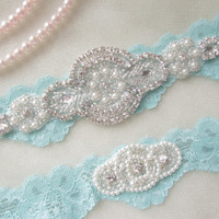 Wedding Garter Set, Bridal Garter Set, Vintage Wedding,Aqua Blue Stretch Lace Garter, Crystal Garter Set