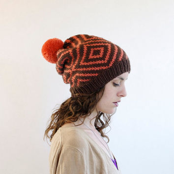 Knitted Beanie - Slouchy Hat - Geometric Diamond with Pom Pom - Brown & Coral
