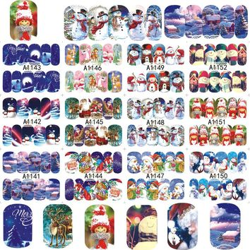 12 designs in one sets Nail Charm Xmas Christmas 2017 New Beauty Nail Art Snowman Water Sticker Decals Tips A1141-1152