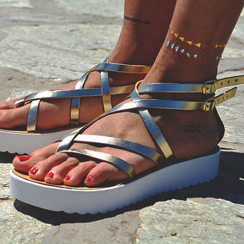 "Women Leather Sandal ""Hera"", strappy sandals, genuine leather, gold sandals, Gladiator Sandals"