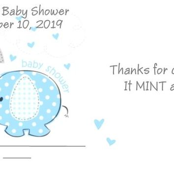 20 Blue Baby Elephant Baby Shower Mint Favors