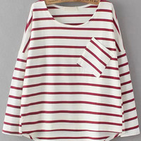 Red White Striped Pocket Long Sleeve Blouse