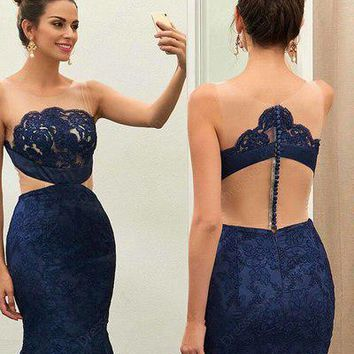 Unique Navy Blue Lace See-through Round Neck Mermaid Floor-length Prom Dress OK986