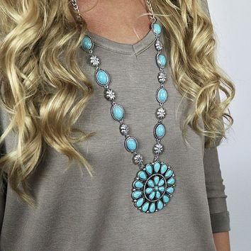 Native American Inspired Necklace - Flower Turquoise Silver
