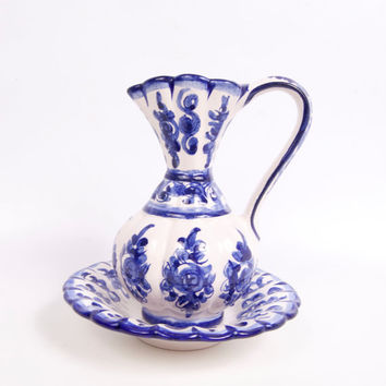 Vintage Portugal Cobalt Blue Pitcher Bowl Flow Blue Blue and White Ewer Basin Wine Carafe Chamber Pot Vanity Décor Decanter