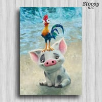 pua and heihei disney poster moana party favors nursery print decor