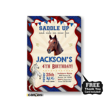 CIJ SALE Horse Birthday Invitation, Horse Party Invite,  Boys Girls Western Party, Cowboy Invitation, Kids Birthday Party, White Horse Invit