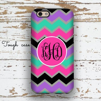 Teen Iphone 6 + case, Chevron Iphone 5c case, Pretty iPhone 5s case, Personalized iPhone 6s case Cute Gifts for Girls Pink mint black (1069)