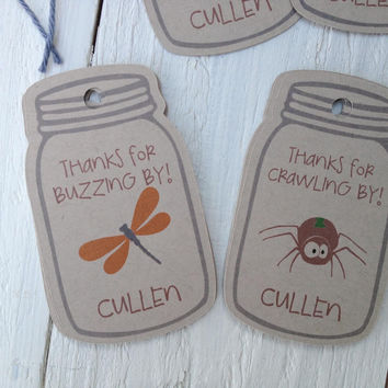 Bug In A Jar Birthday Favor Tags Mason Jar Insect Picnic Party