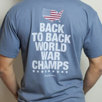 Back to Back World War Champs Pocket Tee with America Silhouette in Weathered Blue by Rowdy Gentleman