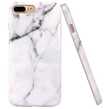 iPhone 7 Plus Case, JAHOLAN White Marble Design Clear Bumper Glossy TPU Soft Rubber Silicone Cover Phone Case for Apple iPhone 7 Plus (2016) / iPhone 8 Plus (2017)