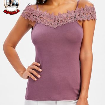 New fashion lace straps top splice women Purple