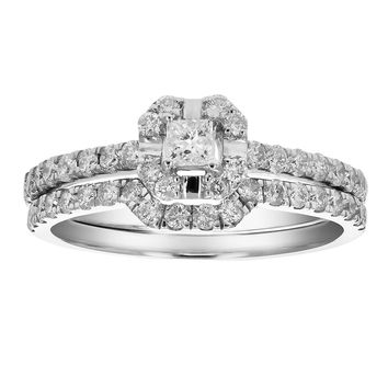 0.67 Carats 3/4 CT Diamond Wedding Engagement Ring Set 14K White Gold