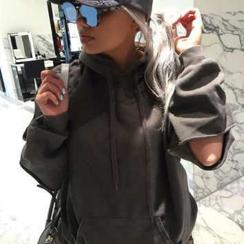 LMFMS9 Women's Fashion Hot Sale Winter Hats Ripped Holes With Pocket Tops Hoodies [8505786125]