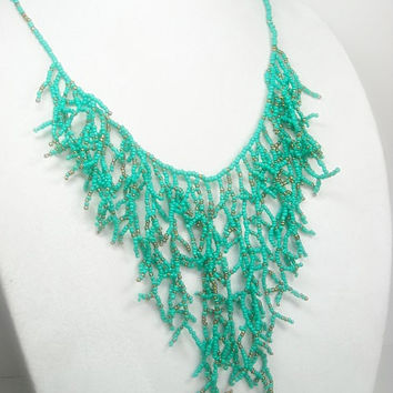 Turquoise Fringe Necklace - Coral Reef Seed Bead Necklace - Statement - Southwest Boho Long Beaded Fringe Necklace - Bohemian - Trendy