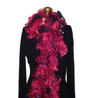 Handmade Knitted Pink and Black Ruffle Scarf