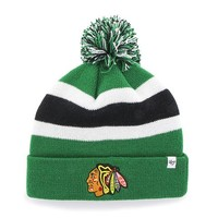 Chicago Blackhawks 47 Brand Green White Black Knit Cuff Breakaway Beanie Hat Cap