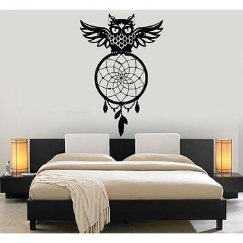 Vinyl Wall Decal Owl Night Bird Dreamcatcher Bedroom Decor Stickers Mural (g179)