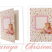 Baby Girl Christening Invitation, Baby Girl Baptism Invitation, Baby Girl Shower Card, Teddy Bear Invitation