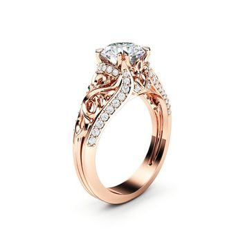 Unique Moissanite Engagement Ring 14K Rose Gold Ring Anniversary Ring Art Deco Engagement Ring